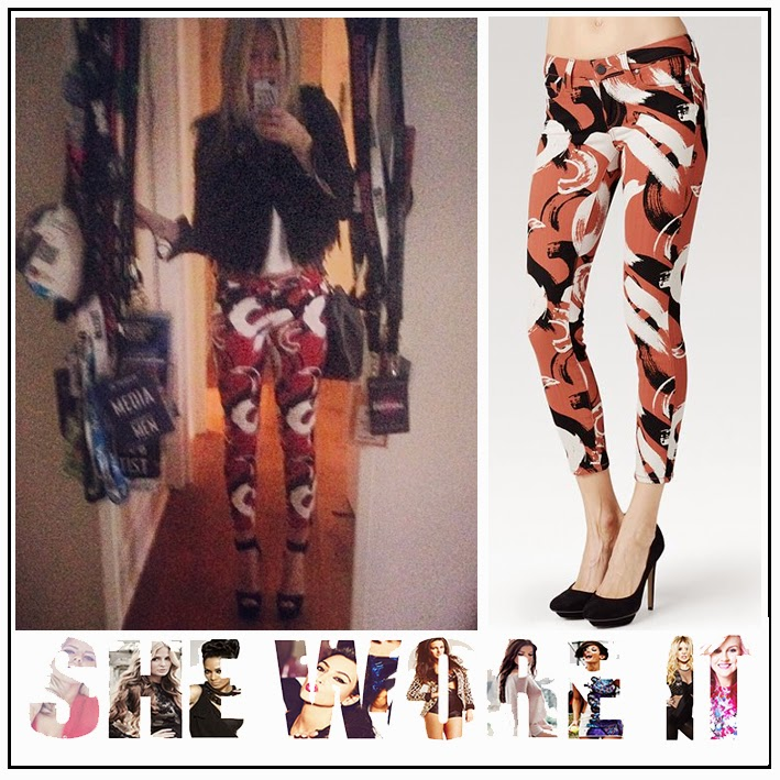 Laura Whitmore, Paige Denimm Verdugo Crop, Mid Rise, Ultra Skinny Tribal Red, Jeans Black and White Print, Paint Brush Print, Britain's Got More Talent