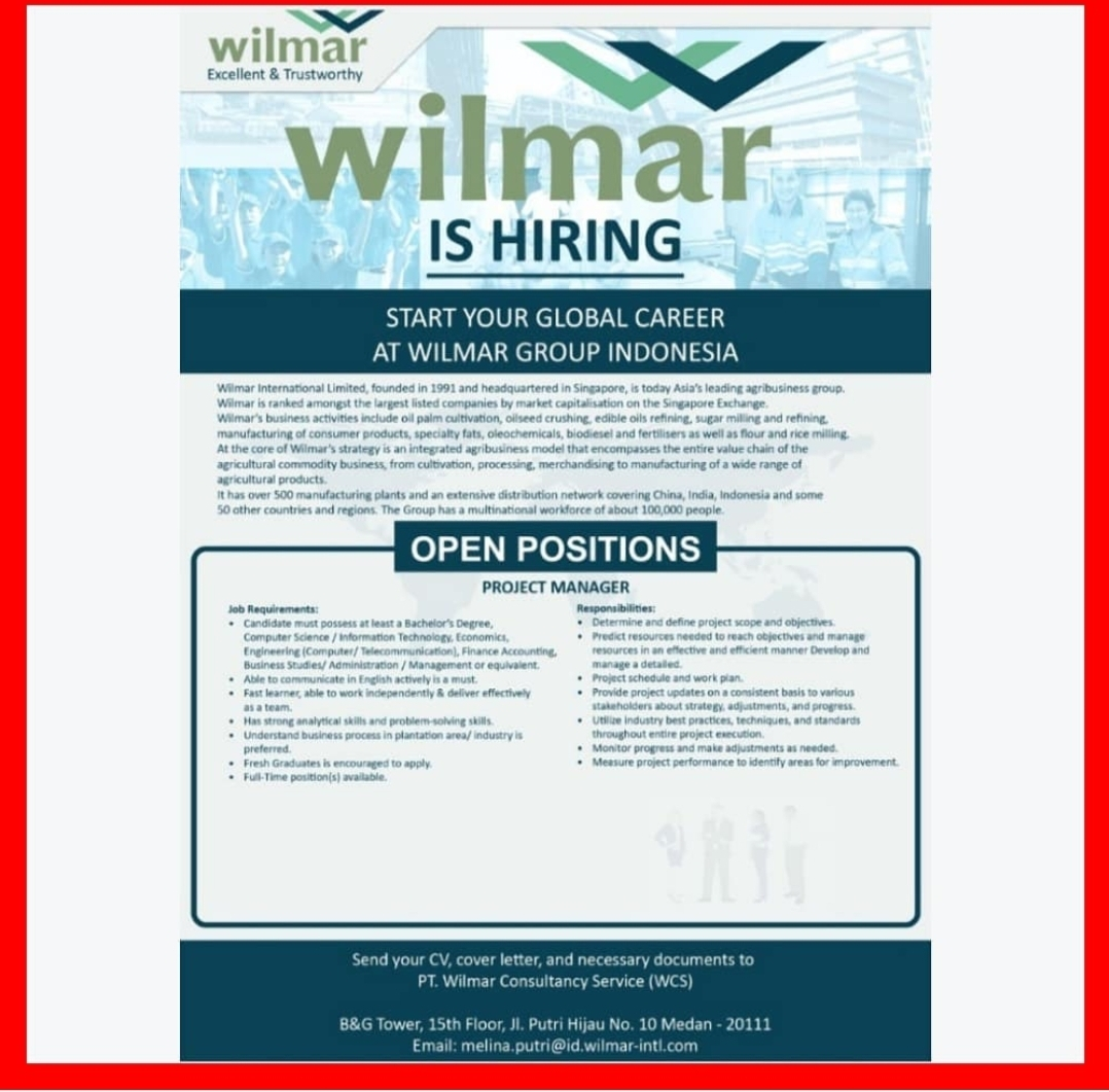 Lowongan Kerja Medan Mei 2021 Di Pt Wilmar Consultancy Services Wcs Lowongan Kerja Medan Terbaru Tahun 2021
