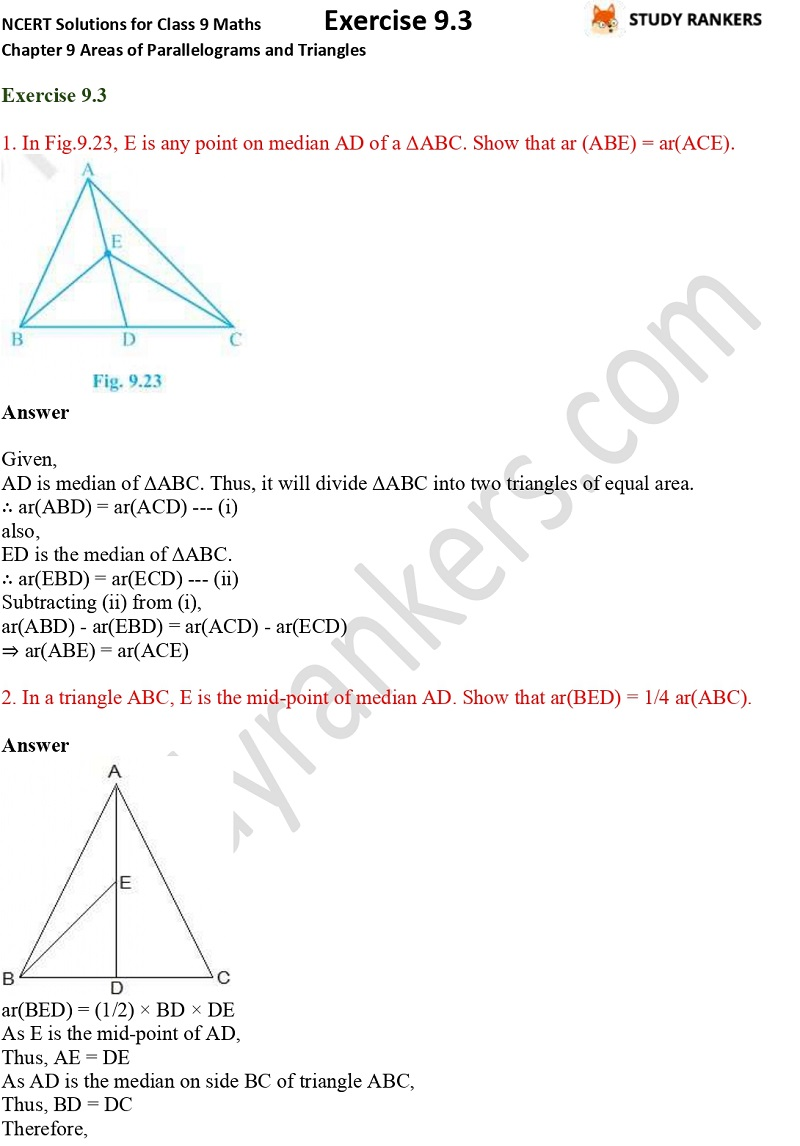 NCERT Solutions for Class 9 Maths Chapter 9 Areas of Parallelograms and Triangles Exercise 9.3 Part 1