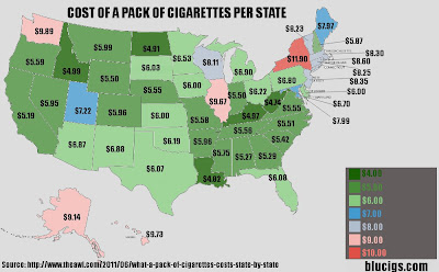 State Cigarette Prices Map   complete cigaretshop