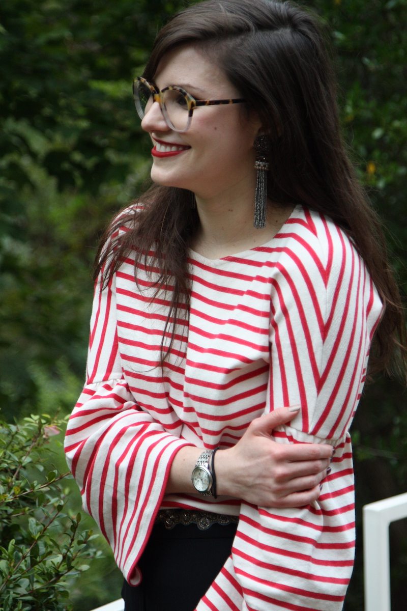 2017, fall, work wear, stripes, red, red lips, Nars, J.Crew,