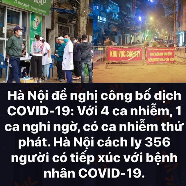 Hà nội đề nghị công bố dịch Covid-19 với 4 ca nhiễm, 1 ca nghi ngờ