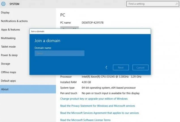 Join Windows 10 to Domain