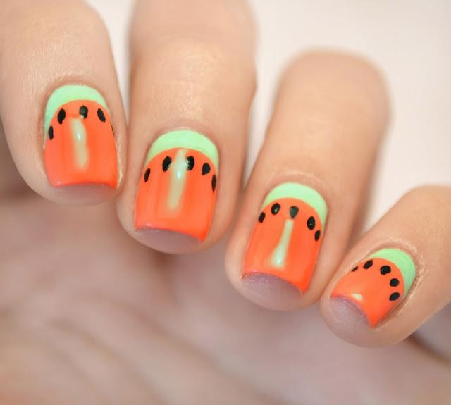 Watermelon nail art tutorial Σχέδιο καρπούζι στα νύχια