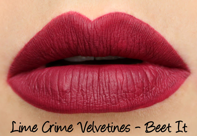 Lime Crime Holiday Velvetines Trio - Beet It Swatches & Review