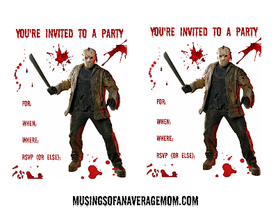 Free printable Jason invitations