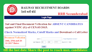 Second and Final DV(Document Verification) for ABSENT CANDIDATES against NTPC (G) of CEN.03/2015