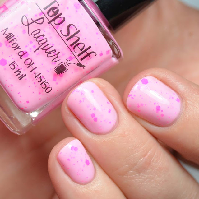 pink nail polish with neon pink glitter
