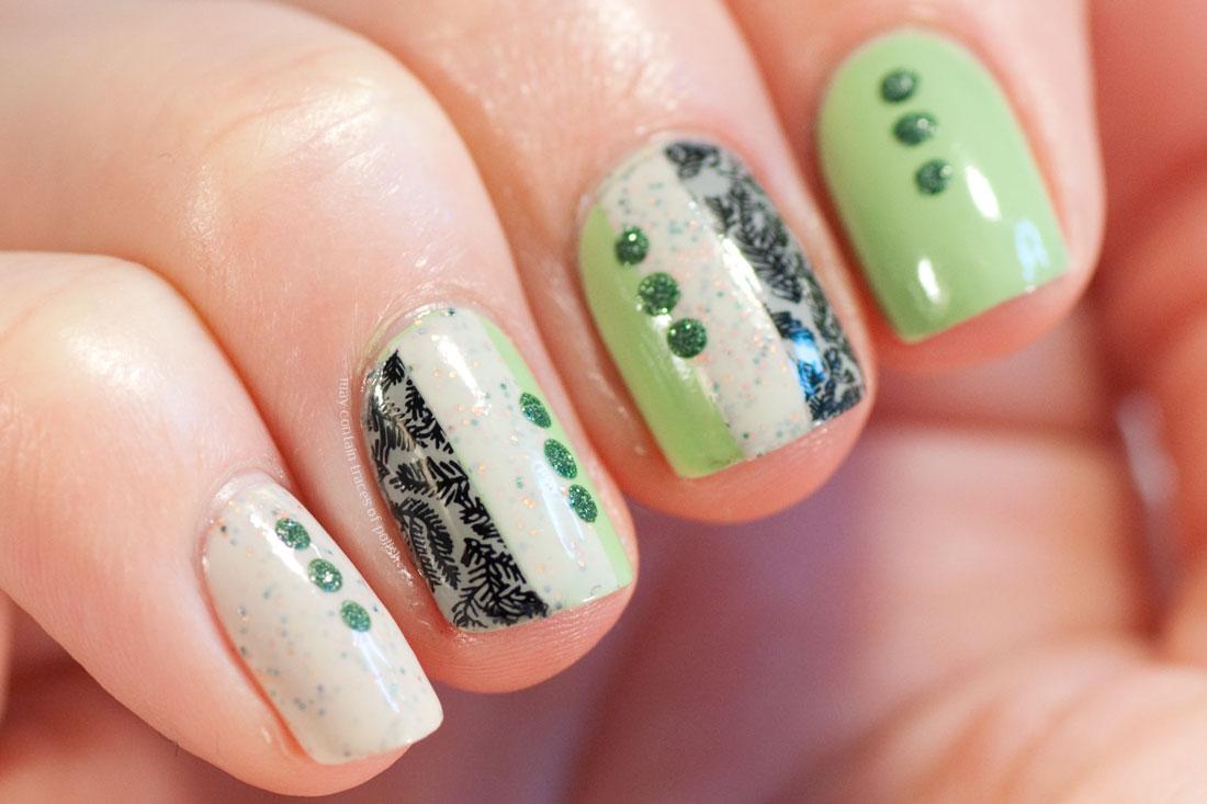 Abstract colour block green nail art