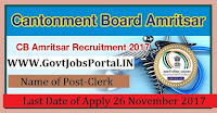 Cantonment Board Amritsar Recruitment 2017– 67 Clerk