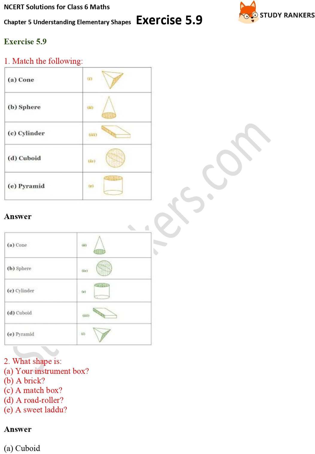 NCERT Solutions for Class 6 Maths Chapter 5 Understanding Elementary Shapes Exercise 5.9 Part 1