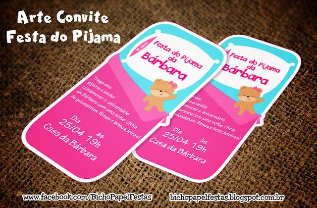 Convite Festa do Pijama saco de dormir