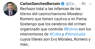 """""""RECHAZO TOTAL"""" es la respuesta de Carlos Sánchez Berzain ante las acusaciones del RÉGIMEN, mediante su Ministro de Gobierno, de ser supuestamente el """"cerebro"""" de las movilizaciones en Bolivia"""