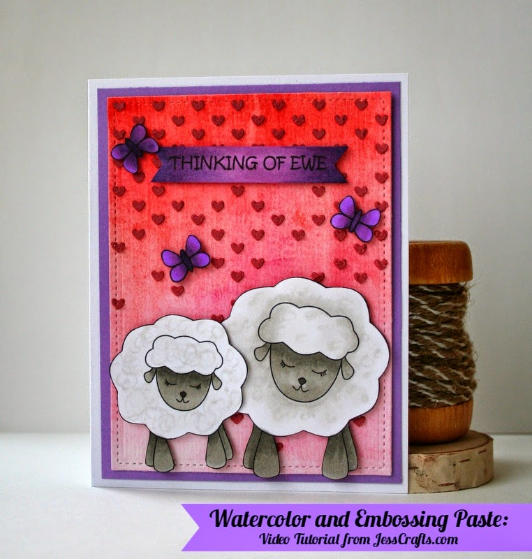 Thinking of Ewe Sheep Card by Jess Crafts featuring Simon Says Stamp Falling Hearts Stencil Embossing Paste and Watercolor Ombre