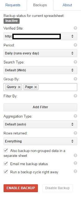 使用Search Analytics for Sheets備份功能寄送報表