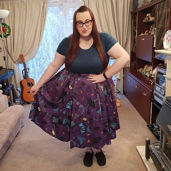 plus size girl wearing Pin Up Girl Clothing Fortune Teller Little Jun Skirt