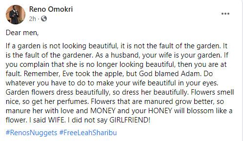 If your wife is no longer beautiful, it's your fault - Reno Omokri tells men