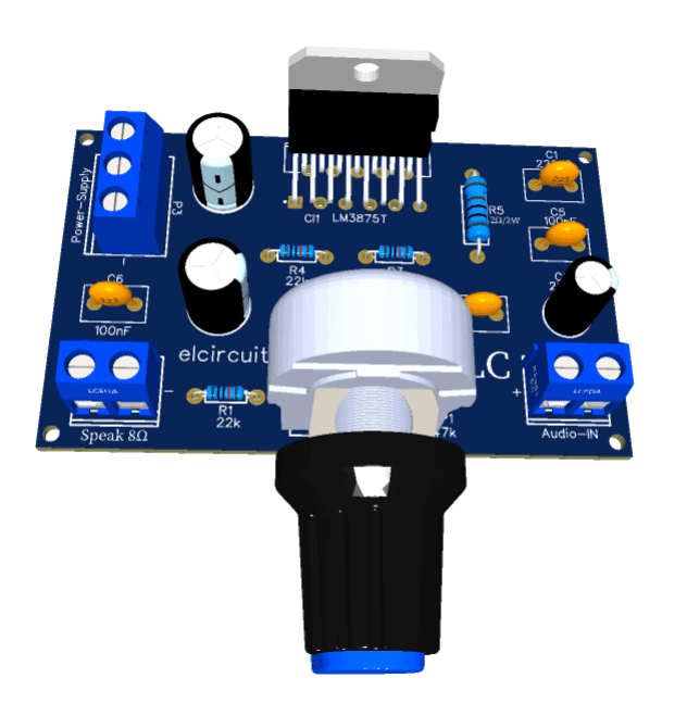 56W RMS Hi-FI Amplifier with LM3875 Integrated Circuit + PCB