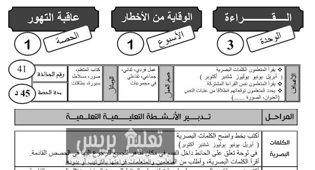 جذاذات الوحدة الثالثة المفيد في اللغة العربية المستوى الثالث ابتدائي
