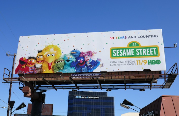 Sesame Street 50 years counting billboard