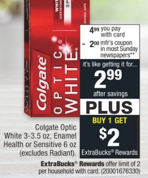 FREE Colgate Optic White Toothpaste at CVS - 4/14-4/20