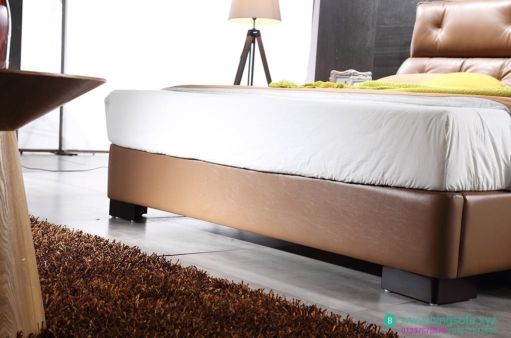 Giường bọc da thật cao cấp  GN14