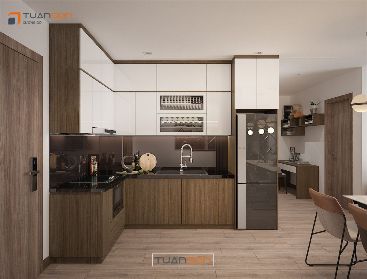 Thiết kế nội thất: Căn 55m2 (2PN+1) Vinhomes Ocean Park