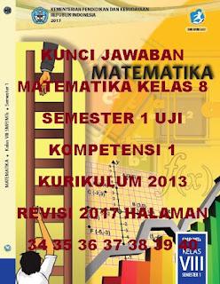 kunci jawaban matematika kelas 8 smp/mts semester 1 uji kompetensi 1 halaman 34-40