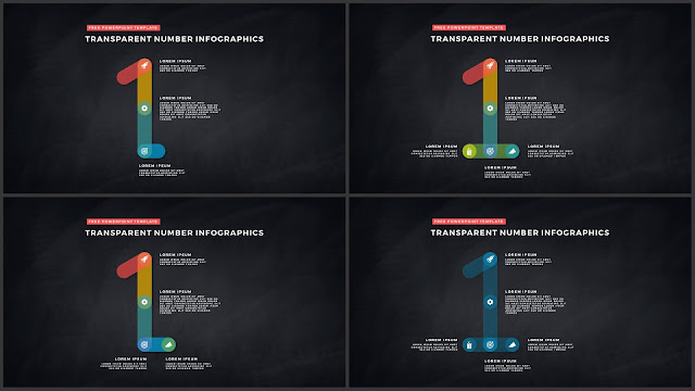 Infographic Transparent Design Elements for PowerPoint Templates in Dark background using Number 1