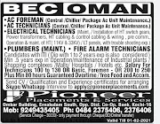 OMAN JOBS : REQUIRED FOR BEC COMPANY IN OMAN .g