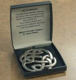 Celtic brooch by St Justin in box