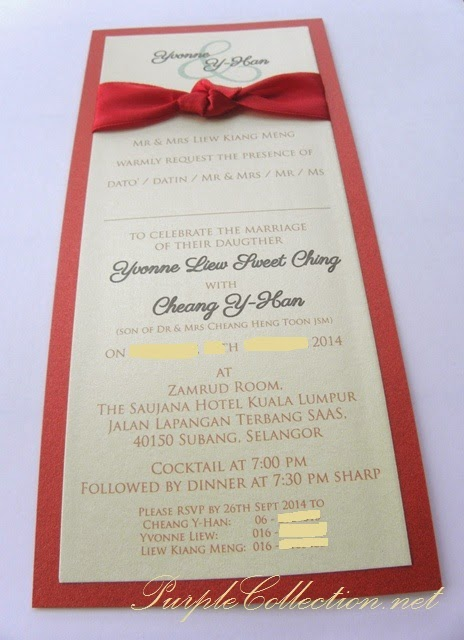 flat card, 2 sided print, pearl card, metallic, envelope, satin ribbon, maroon, beige, invitation, wedding card, printing, custom made, design, handmade, hand crafted, bespoke, simple, elegant, modern, unique, special, personalised, personalized, zamrud room, the saujana hotel kuala lumpur, selangor, malaysia, australia, singapore, penang, perak, kedah, pahang, melaka