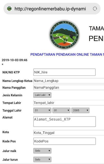 Cara daftar online pendakian merbabu