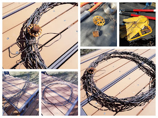 How to Make a Barbed Wire Wreath, my entry for Thrift Store Upcycle April 2021.
