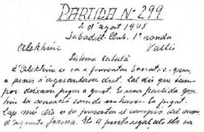 Manuscrito de Vicenç Vallès sobre Alekhine