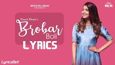 Brobar Boli Lyrics - Nimrat Khaira