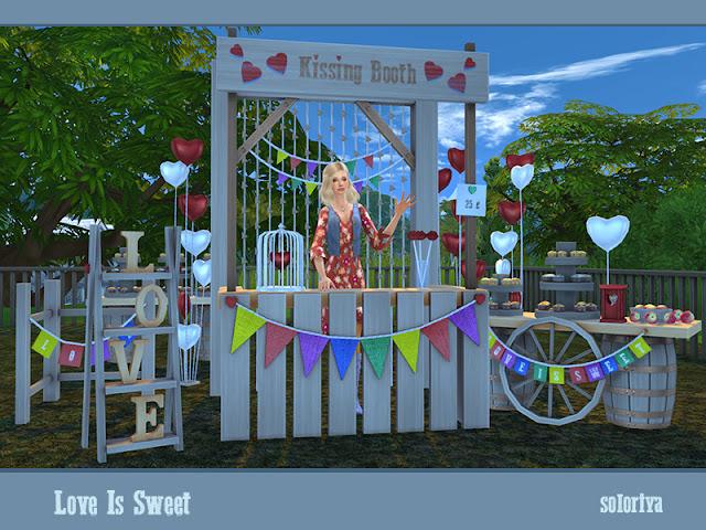 Love Is Sweet Любовь сладка для The Sims 4 Создайте романтическое настроение с этим набором. Включает в себя 14 предметов. Имеет 3 цветовые палитры и 2-6 цветовых вариаций для каждого объекта. Предметы в наборе: - два стола с бочками - Я сумматор - балки - декоративная будка для поцелуев - два вида воздушных шаров - декоративный забор - фонарь - клетка с сердцем - декоративные губы в стакане - два вида кексов - яблоки. Автор: soloriya