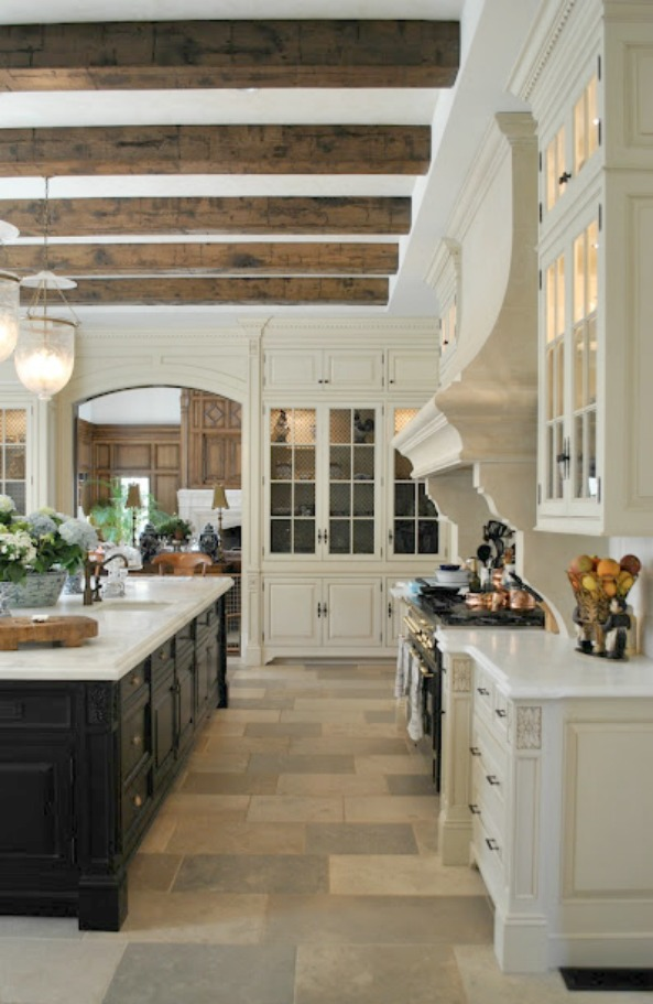 Breathtaking French chateau kitchen limestone floor by Enchanted Home