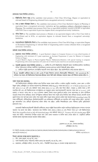 Job Opportunity for Post of Teachers and Officers of in Various Dept. of BUET
