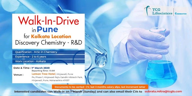 TCG Life sciences | Walk-in for Discovery Chemistry on 1 Mar 2020 | Pune