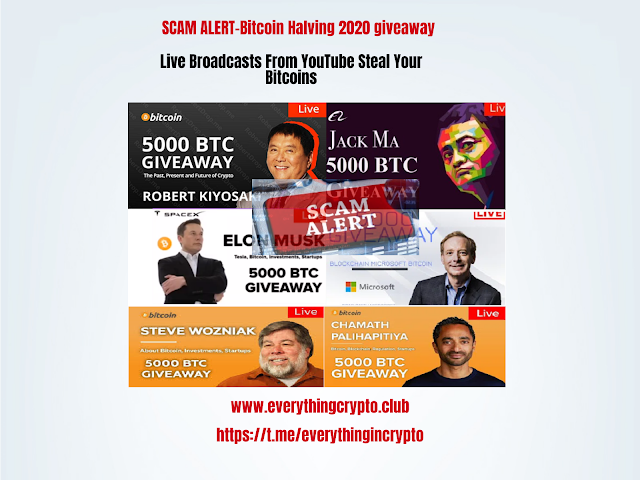 Scam alert-Bitcoin Halving 2020 giveaway-Live broadcasts from YouTube steal your bitcoins
