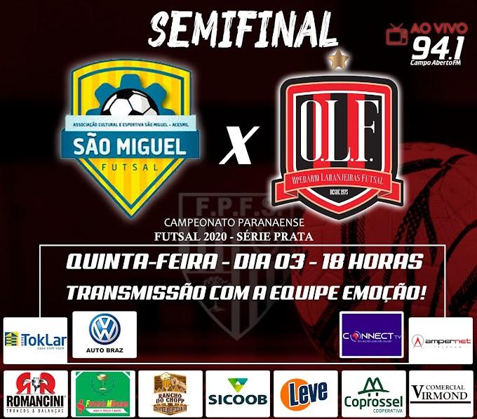 Futsal PR Série Prata: Operário Laranjeiras joga hoje a primeira partida da semifinal contra São Miguel