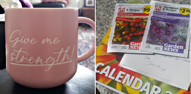 A new mug and a calendar and some flower seeds