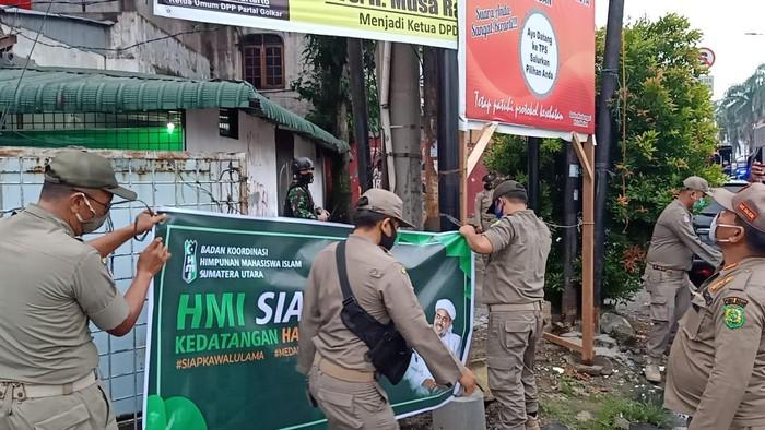 Spanduk 'Siap Kawal Habib Rizieq' Dicopot Satpol PP, HMI Sumut Murka: Harusnya yang Lain Juga!