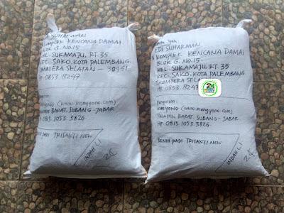 Benih padi yang dibeli   EDI SUHARMAN Palembang, Sumsel.  (Setelah packing karung).