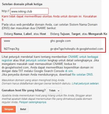 Pesan Kesalahan Setelan Domain Blogspot