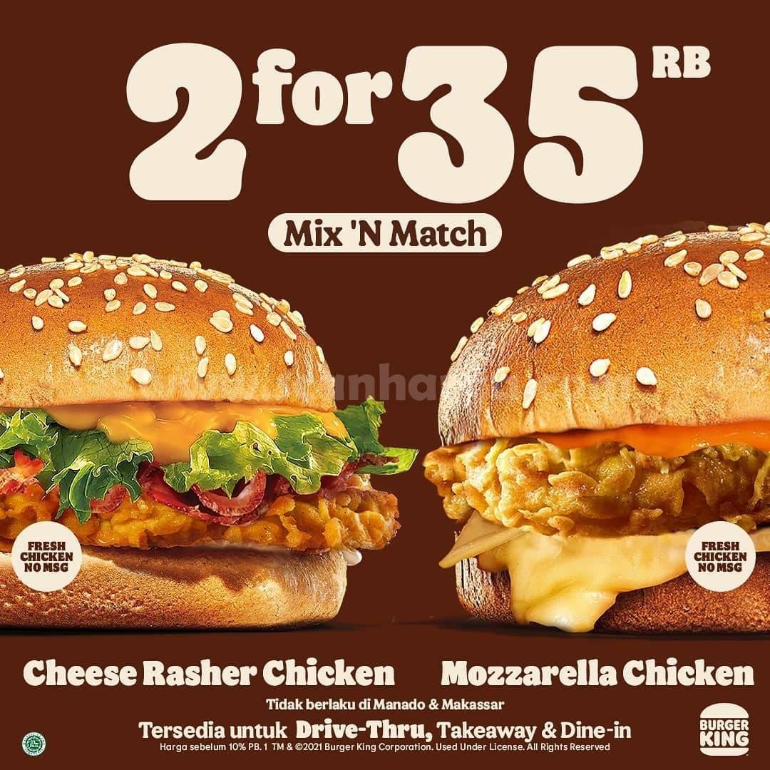 Promo Burger King Mix & Match! Harga 2 Burger hanya Rp. 35.000