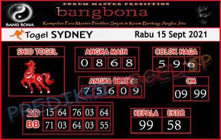 Prediksi Bangbona Sydney Rabu 15 September 2021