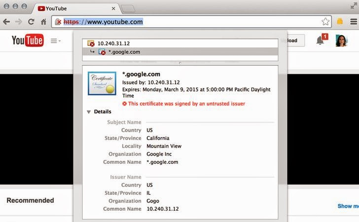 Gogo In-flight Internet issues Fake SSL Certificates to its own Customers