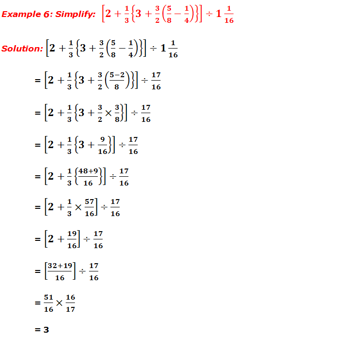 Example 6: Simplify fractions